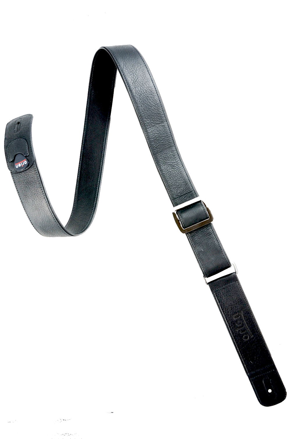 Orion black leather guitar strap