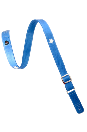 Blue white leather guitar strap