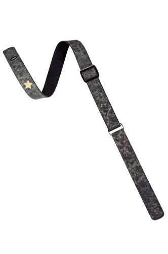 Black Distressed Leather Guitar Strap
