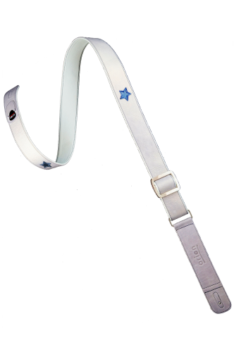 silver blue leather guitar strap
