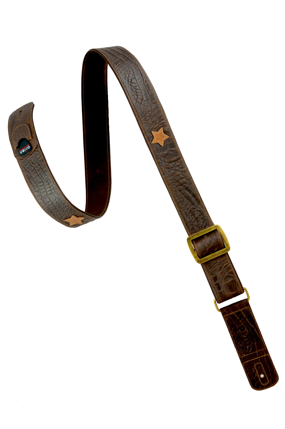 Whiskey brown leather guitar strap